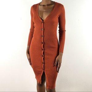 Forever 21 Dresses - Forever 21 ribbed knit button down orange dress